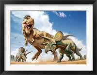 Framed Tyrannosaurus Rex Fighting aTriceratops