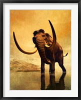 Framed Wooly Mammoth and Sunset