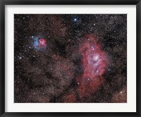 Framed Lagoon Nebula and Trifid Nebula in Sagittarius