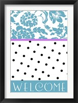 Teal Dots Framed Print