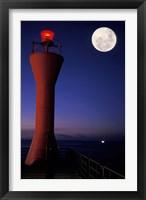 Framed Spain, Teneriffe, Santa Cruz, Lighthouse, full moon