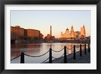 Framed Liver Building from Albert Dock, Liverpool, Merseyside, England