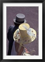 Framed Man and woman wearing hats, Royal Ascot, London, England