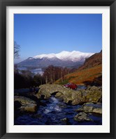 Framed Ashness Bridge in Lake District National Park, Cumbria, England