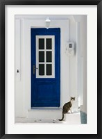 Framed Village Door with Cat, Kokkari, Samos, Aegean Islands, Greece