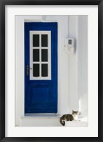 Framed Greece, Aegean Islands, Samos, Door, Cat