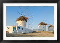 Framed Mykonos, Greece Famous five windmills at sunrise