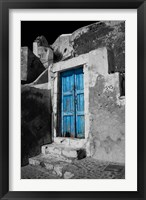 Framed Colorful Blue Door, Oia, Santorini, Greece