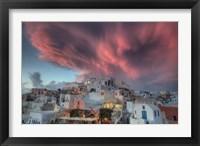 Framed Sunset over Oia, Santorini, Greece