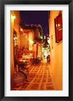 Framed Ios, Greece Restaurant setting on the Greek isle