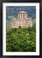 Framed Byzantine church near Fodele, Grove of orange trees and Church of the Panayia, Crete, Greece