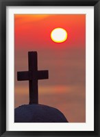 Framed Christian cross, sunset, Mykonos, Greece