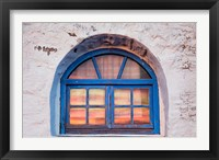 Framed Window with sunset reflection, Mykonos, Greece