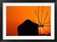 Framed Sunrise with Mykonos Windmills, Mykonos, Cyclades Islands, Greece