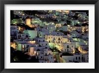 Framed Hilltop Buildings at Night, Mykonos, Cyclades Islands, Greece