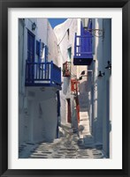 Framed Cobblestone Alley, Santorini, Greece