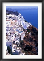Framed White Buildings in Oia Santorini, Athens, Greece