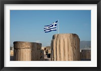 Framed Greece, Athens, Acropolis Column ruins and Greek Flag