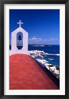 Framed Greek Orthodox Church and Harbor in Mykonos, Greece