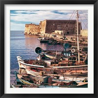 Framed Greece, Crete, Fishing boats, Rossa al Mare