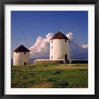 Framed Greece, Mykonos White-washed Windmills