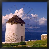 Framed Greece, Mykonos, Windmill looks over Azure Sea