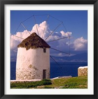 Framed Greece, Mykonos, Windmill looks over Azure Sea