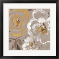 Framed Brushed Petals III Gold