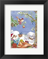 Framed Squirrel and Bird Holiday Tree