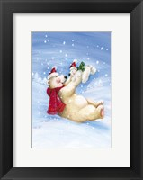 Framed Polar Bears In Christmas Snow