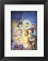 Framed Mary and The Animals Manger Scene