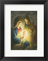 Framed Mary and Joseph Glowing Manger Scene