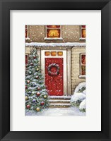 Framed Red Door and Christmas Wreath