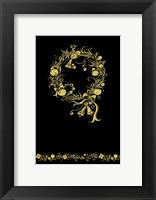 Black and Gold Holiday Wreath Framed Print