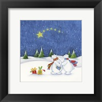 Framed Bear Couple Holiday Snow Date