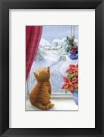 Kitten Christmas With Pointsettia Framed Print