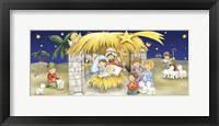 Framed Mary Joseph and Children Manger Scene