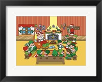 Santa and Elves Tea and Muffin Meet Framed Print
