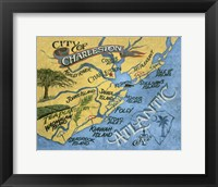 Framed Charleston, South Carolina Beach Map