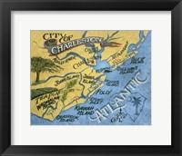 Framed Charleston, South Carolina Beach Map