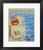 Framed Delaware Beach Map