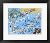 Framed Florida Keys Beach Map