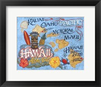 Framed Hawaii Beach Map