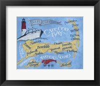 Framed Cape Cod Beach Map