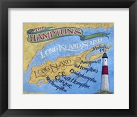 Framed Hamptons Beach Map