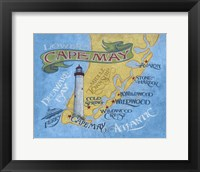 Framed Cape May Beach Map