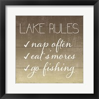 Lake Rules Framed Print