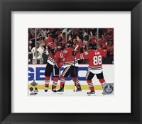 Framed Duncan Keith, Brandon Saad, & Patrick Kane Goal Celebration Game 6 of the 2015 Stanley Cup Finals