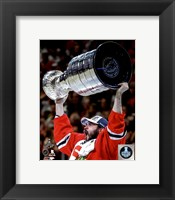Framed Brent Seabrook with the Stanley Cup Game 6 of the 2015 Stanley Cup Finals