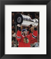 Framed Patrick Kane with the Stanley Cup Game 6 of the 2015 Stanley Cup Finals